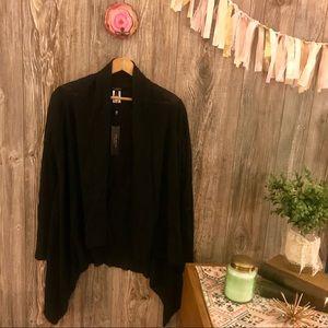 {talbots} black linen blend waterfall cardigan s
